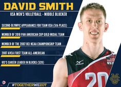 Uci Alum 6 7 Mb David Smith 2003 07 Made The 2016 Usa Men S Volleyball Olympic Team For The Rio Brazil Games Mens Volleyball Brazil Game Volleyball
