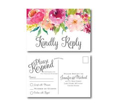 IMPRIMIBLES de RSVP tarjeta postal tarjeta de Rsvp por ClearyLane