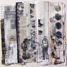 Ros Lymer - This piece is made out of fabric and paper scraps; they have been dyed, printed on, batiked, heat pressed, arranged, embroidered and stitched.