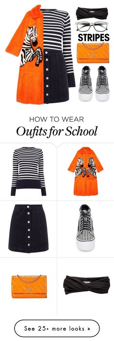 """""""School"""" by lilitha-thando on Polyvore featuring Warehouse, Gucci, Vans, Kate Spade, Eugenia Kim, stripesonstripes and PatternChallenge"""