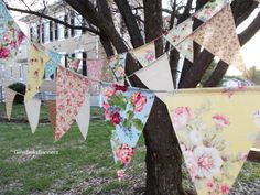 baby shower banner shabby chic Pink vintage blue beach wedding bunting Birthday tea party cottage rustic burlap rose floral decoration SALE on Etsy, $19.95