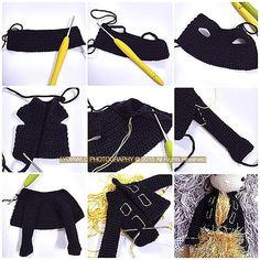 My tutorial of making black jacket for - lydiawlc Crochet Doll Dress, Crochet Barbie Clothes, Crochet Doll Pattern, Crochet Patterns, Cardigan Pattern, Jacket Pattern, Doll Clothes Patterns, Clothing Patterns, Crochet Afgans