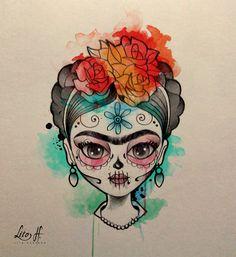 Frida Kahlo Artwork, Kahlo Paintings, Frida Art, Day Of The Dead Drawing, Day Of The Dead Art, Frida Kahlo Cartoon, Mexico Tattoo, Pop Art, Catrina Tattoo