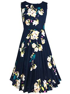 Amoretu A Line Midi Dress Floral Printed Cocktail Dress for Women Navy M  Size Chart(inch)    Please Check your Measurements to Make Sure the Item Fits before Ordering.  Please allow 0.3-0.8in differs due to manual flat-laid measurement.   Small (US 4-6) —– Bust:34.64″; Waist:26.77″; Length:38.58″  Medium (US 6-8) —– Bust:35.43″; Waist:27.16″; Length:38.58″  Large (US 8-10) —–Bust:36.22″; Waist:27.56″; Length:38.58″  X-Large (US 10-12) —–Bust:37.01″; Waist:28.35″; Length:39.37″  2-X..