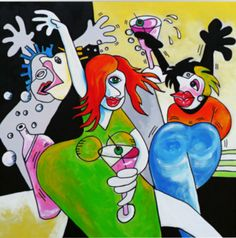 TITLE: GIRLS NIGHT OUT! Size 36″ x 36″ x 1″ ACRYLIC Price: $350.00   Shipping $60.00.
