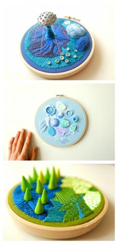 """Justyna Wolodkiewicz's """"Out of this World"""" series of hoop art - beautiful mix of polymer clay and embroidery, shared on Creative Boom."""