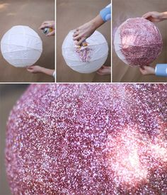 Glitter lanterns...oooh I like this - Click image to find more Weddings Pinterest pins