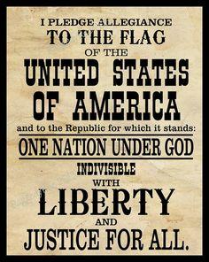 Pledge of Allegiance digital print black and white by RaggedyRee, $3.00