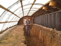 The Zero Energy Thermal Mass Greenhouse solves the problem of freezing weather and a short season climate when you need to grow food. There is no grid connec. Aquaponics Greenhouse, Build A Greenhouse, Aquaponics System, Hydroponics, Greenhouse Ideas, Aquaponics Plants, Greenhouse Wedding, Greenhouse Heaters, Window Greenhouse