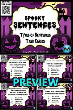 $3. These 24 Spooky Sentences Task Cards w/ QR Codes are perfect for reviewing declarative, interrogative, imperative, and exclamatory sentences with your students in the fall or at Halloween time. Classroom Activities, Classroom Ideas, Teachers Pay Teachers Free, Holiday Classrooms, Types Of Sentences, Classroom Board, Thing 1, Reading Resources, Teaching Materials