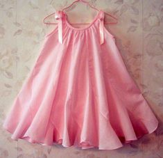 "Susan Stewart Designs - heirloom sewing -""Sweet Pea"" pattern- looks elegant & pretty in pink - love the sweet flare of this pillowcase dress- Little Dresses, Little Girl Dresses, Girls Dresses, Toddler Dress, Toddler Outfits, Kids Outfits, Girl Dress Patterns, Sewing Patterns, Skirt Patterns"