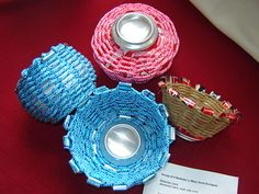 Yes, its an ALUMINUM CAN basket! My own designs and baskets made from aluminum cans and rope/ cordage by Mary Anne Enriquez (AKA urbanwoodswalker) Displayed at the 2009 Trash To Treasure IX show in Hammond, Indiana. Pop Can Crafts, Arts And Crafts, Easy Crafts, Art Projects For Adults, Fun Projects, Easter Projects, Basket Crafts, Pop Cans, Weaving Projects