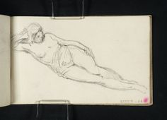 Joseph Mallord William Turner 'A Woman Reclining, Semi-Draped, Head Resting on Right Arm',  --  From Academies Sketchbook  -  c.1800–7  -  Graphite on paper -  Dimensions Support: 172 x 119 mm -  Collection -  Tate