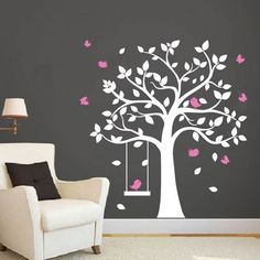Tree Wall Decals With Birds Swing