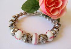 Pink Lampwork and Antiqued Silver Bangle Bracelet by simplysuzie2, $25.00