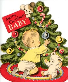 Vintage Norcross Christmas Greeting Card for Baby with Tree Dog Teddy Bear 3188