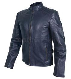 Men Navy Blue Genuine Leather Jacket with Rib Quilted Padded Shoulders - Leather Skin Shop Best Leather Jackets, Long Leather Coat, Leather Jacket With Hood, Leather Skin, Trench Coat Men, Fashion Night, Jackets For Women, Navy Blue, Mens Fashion