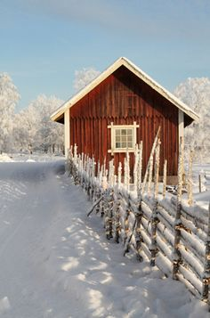 Åsens By, Haurida, Småland, Sweden Red Houses, Winter Magic, Winter Snow, Sweden Travel, Red Cottage, Scandinavian Home, Scandinavian Christmas, Swedish House, Winter Scenery