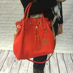 Michael Kors Leather Satchel in Mandarin Orange Gorgeous Camden Leather Satchel in stunning Mandarin color. It's a cross between red and orange. Perfect for everyday wear, super chic. Brand new with tag, originally $398! MICHAEL Michael Kors Bags Satchels