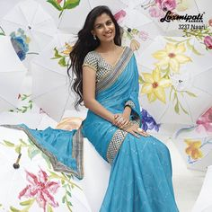 """Enthusiasm is a telescope that yanks the misty, distant future into the radiant, tangible present.""- this blue saree add some enthusiasm in you."