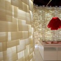 Translucent wood veneer wall