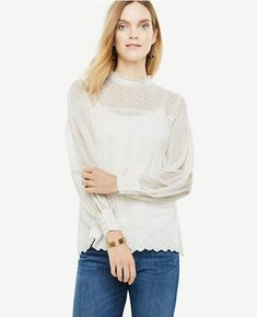 ccbf108fdf4 Shop Ann Taylor for effortless style and everyday elegance. Our Chiffon Dot  Jacquard Mock Neck Blouse is the perfect piece to add to your closet.