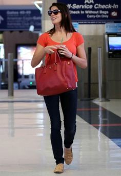 42465505beca Ashley Greene wearing Prada Saffiano Lux Tote and Tory Burch Jasmine  Embellished Loafer in Croissant.