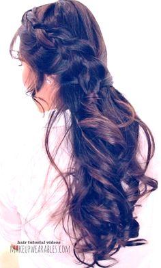 Romantic half-up half down hairstyle for school prom wedding