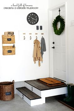 You don't have mudroom in your home? You can create one in your garage. Converting a corner of your garage into a mudroom is easier than it may sound. Mudrooms create more storage and keep the rest of your home clean and organized. Garage House, Garage Entryway, Mud Room Garage, Garage Mudrooms, Dream Garage, Garage Entry Door, Garage Bar, House Entrance, Car Garage