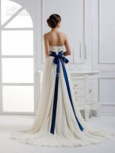 Romantic~strapless ruffle blue ribbon sash bow chiffon white ivory A-line wedding dresses gowns