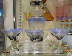 Rare Art Deco Glass Cocktail Shaker and Glasses. From Robinson Antiques at Alfies. www.alfiesantiques.com