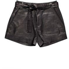 Iro Bridge Black Leather Shorts (113.550 HUF) ❤ liked on Polyvore featuring shorts, leather tie belt, highwaist shorts, leather shorts, relaxed shorts and relaxed fit shorts