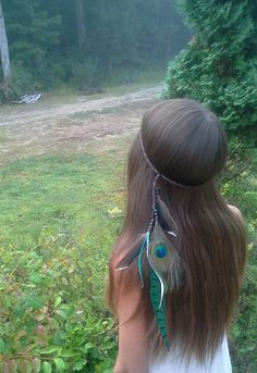 Feather Headband Bohemian Native American by dieselboutique, $33.99 #feather #headband #boho #bohemian #peacock #jade #green #feathers #hair #hippie #duck #pheasant