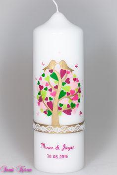 Hochzeitskerze Herzbaum mit Schmetterlingen und Sp von Sannis Kerzen nach Wunsch auf DaWanda.com