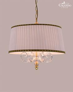 109 SM gold leaf crystal pendant light combined with fabric ivory lampshade Crystal Pendant Lighting, Pendant Lights, Gold Leaf, Spice Things Up, Chandelier, Ivory, Shades, Ceiling Lights, Crystals