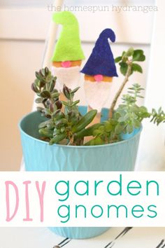This is the cutest garden gnome craft ever! These easy felt garden gnome plant markers are the perfect way to decorate your house plants. You can make your own handmade gnomes using just some felt, glue, and wood craft sticks. This is an easy summer craft for kids or adults.