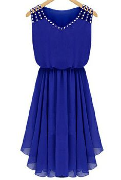 For Gabriella?  Blue Sleeveless Rhinestone Hollow Pleated Chiffon Dress - Sheinside.com