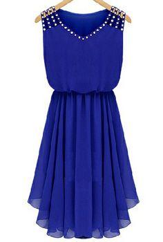 Blue Sleeveless Rhinestone Hollow Pleated Chiffon Dress - Sheinside.com