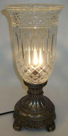 Godinger Silver Co. Electric Hurricane Table Lamp Light w/ Crystal Globe Shade Godinger Silver, Hurricane Lamps, Candle Holders, Vintage Hurricane Lamps, Table Lamp Lighting, Lamp, Light, Vintage Lamps, Lights