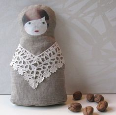 Textile russian nesting doll babushka matryoshka -- love the monotone simplicity of this doll