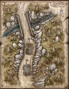 Road n-s bridge stream bog wilderness Wagons Caravan attack Fantasy Map, Medieval Fantasy, Pathfinder Maps, Forest Map, Isometric Map, Map Maker, Dungeon Maps, Fantasy Setting, City Maps