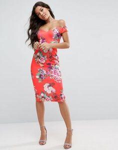 ASOS | Vestido midi con escote Bardot en forma de corazón y estampado floral intenso de ASOS