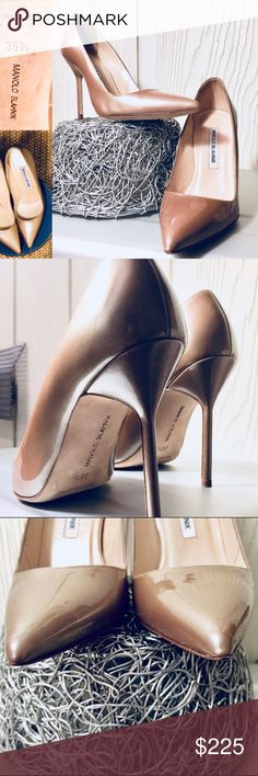 Real Deal 💎 Manolo Blahnik Heels Beautiful, lightly worn BB Patent Leather Nude Metallic heels  Pristine condition ✨: these shoes go with everything 👌🏽 Manolo Blahnik Shoes Heels