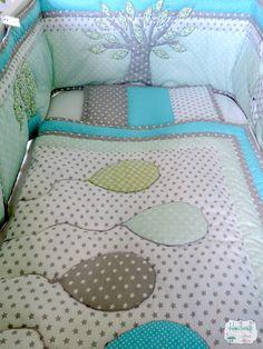 Custom made lovely patchwork nursery bedding with elephant appliqué. Quilt, baby quilt, blanket, bumper, pillow. Blue, mint, white, grey, silver. Order here: www.facebook.com/handmadebynaomy