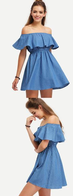 *SHEIN (SHEINSIDE) || Blue off the shoulder starts print dress | Vestido azul estampado con estrellas