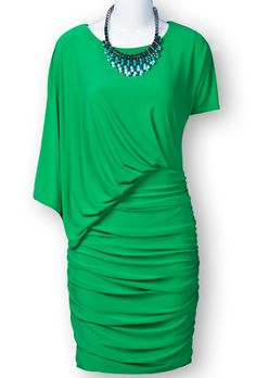 Green Asymmetric Sleeve Ruched Side Bodycon Dress $83.61
