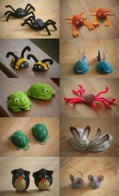 Little animals made of walnut shells.