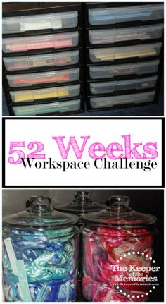 Welcome to week one of the 52 Weeks to an Organized Workspace challenge. This month we?re planning our creative spaces.t that exciting?re going to get started by making a few simple changes. Our to-do list for this week is quick and Craft Room Storage, Craft Organization, Craft Rooms, Organizing Ideas, 52 Weeks, Space Crafts, Craft Space, Scrapbooking, Scrapbook Rooms