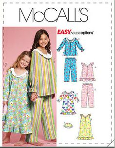 McCall's M5969 Little Girl Pajama Pattern or by FlannelLand, $5.95
