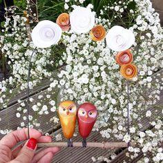 Il sont pas mignooonnns...!? #chouette #deco #couple #amoureux #lovelovelove #fimo #fleurs #cadeaudemariage #handmade